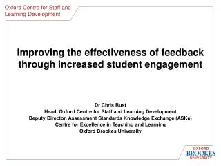 Improving the effectiveness of feedback through increased student engagement