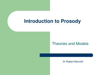 Introduction to Prosody