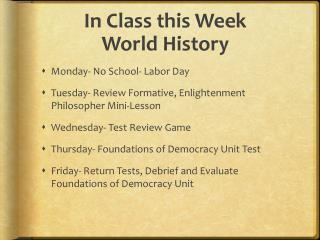 In Class this Week World History