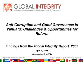 Anti-Corruption and Good Governance in Vanuatu: Challenges & Opportunities for Reform