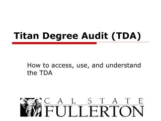 Titan Degree Audit (TDA)