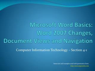 Microsoft Word Basics: Word 2007 Changes, Document Views and Navigation