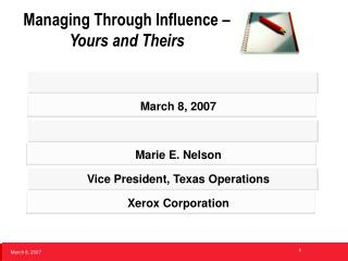 Managing Through Influence –  Yours and Theirs