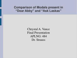 "Comparison of Modals present in  ""Dear Abby"" and ""Ask Laskas"""