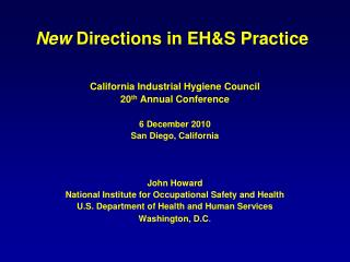 New  Directions in EH&S Practice