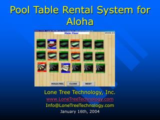 Pool Table Rental System for Aloha