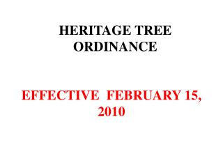 HERITAGE TREE ORDINANCE