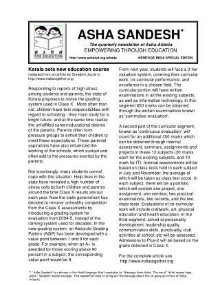 ASHA SANDESH * The quarterly newsletter of Asha-Atlanta EMPOWERING THROUGH EDUCATION