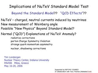 Implications of NuTeV Standard Model Test