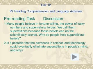 Unit 12 P2 Reading Comprehension and Language Activities