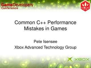 Common C++ Performance Mistakes in Games