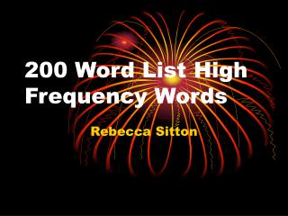200 Word List High Frequency Words
