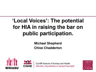 'Local Voices': The potential for HIA in raising the bar on public participation.