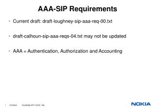 AAA-SIP Requirements