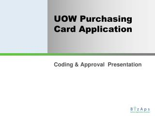 UOW Purchasing Card Application