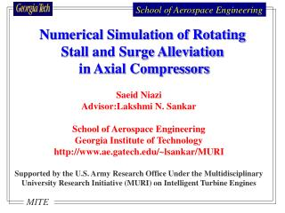 Saeid Niazi Advisor:Lakshmi N. Sankar School of Aerospace Engineering