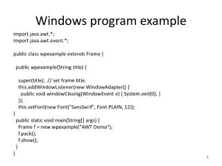Windows program example