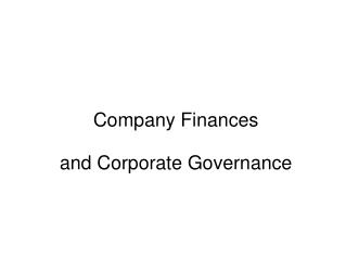 Company Finances and Corporate Governance