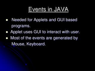 Events in JAVA