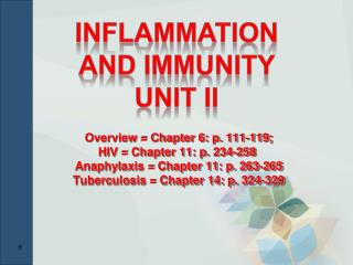 Inflammation AND IMMUNITY  Unit II