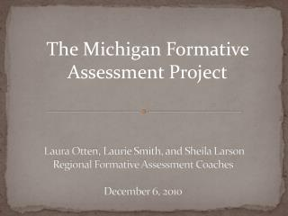 The Michigan Formative Assessment Project