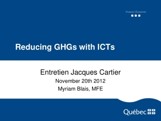 Reducing GHGs with ICTs