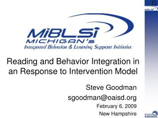 Reading and Behavior Integration in an Response to Intervention Model