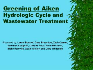 Greening of Aiken Hydrologic Cycle and Wastewater Treatment
