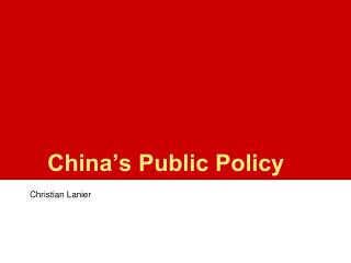 China's Public Policy