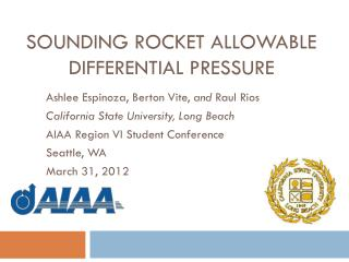 Sounding Rocket Allowable  Differential Pressure