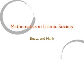 Mathematics in Islamic Society