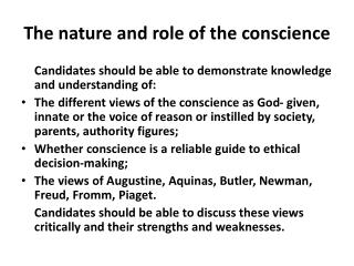 The nature and role of the conscience