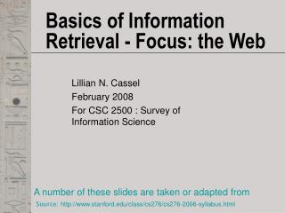 Basics of Information Retrieval - Focus: the Web