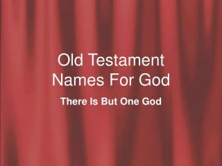 Old Testament Names For God