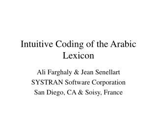 Intuitive Coding of the Arabic Lexicon