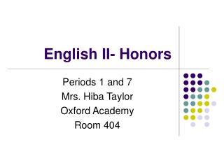 English II- Honors