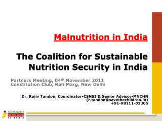 Malnutrition in India The Coalition for Sustainable Nutrition Security in India