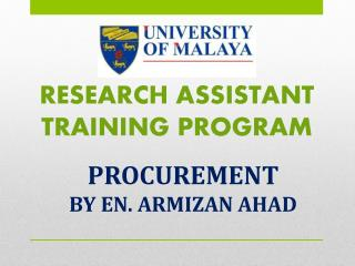 RESEARCH ASSISTANT TRAINING PROGRAM