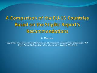 A Comparison of the EU-15 Countries Based on the Stiglitz Report's Recommendations