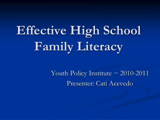 Effective High School Family Literacy