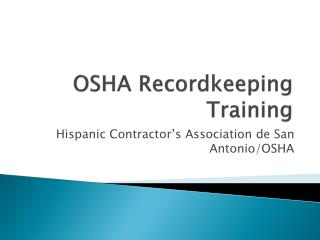 OSHA Recordkeeping Training