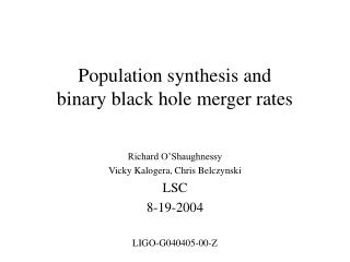 Population synthesis and binary black hole merger rates