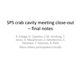 SPS crab cavity meeting close-out – final notes
