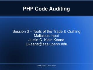 PHP Code Auditing