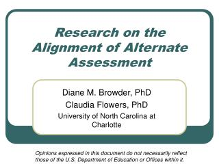 Research on the Alignment of Alternate Assessment