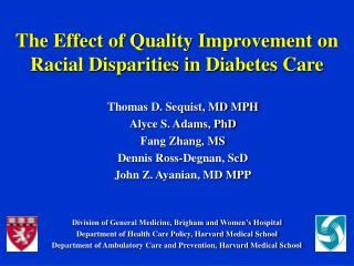 The Effect of Quality Improvement on Racial Disparities in Diabetes Care