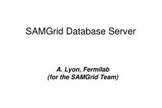 SAMGrid Database Server