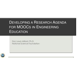 Developing a Research Agenda for MOOCs in Engineering Education
