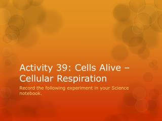 Activity 39: Cells Alive – Cellular Respiration