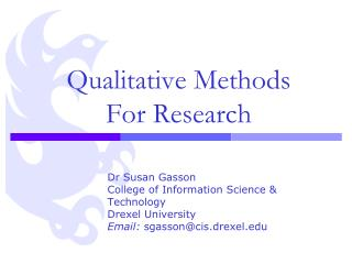Qualitative Methods For Research